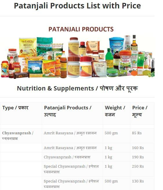 Patanjali Products Price List Pdf