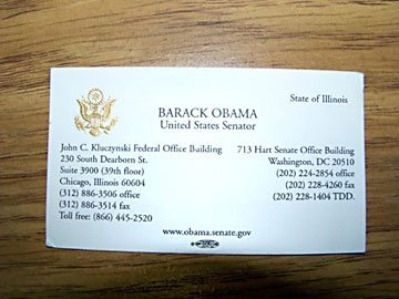 Does the us president have a business card quora this was his business card when he was a senator reheart Images