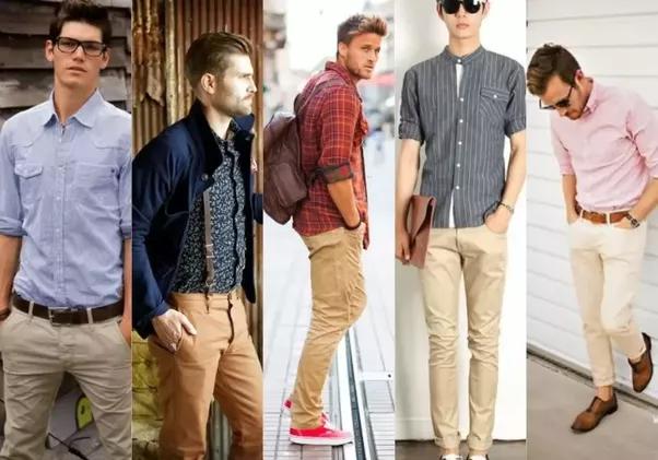 Khaki Pants Blue Shirt What Color Shoes