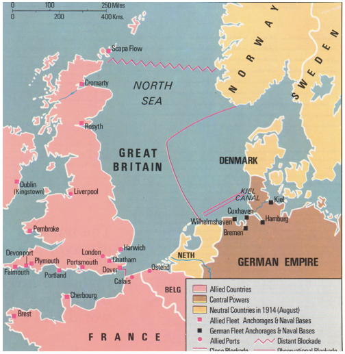 anything germany imported by sea before ww1 was cut off for the duration of the war the map below shows the close blockade and the distant blockade