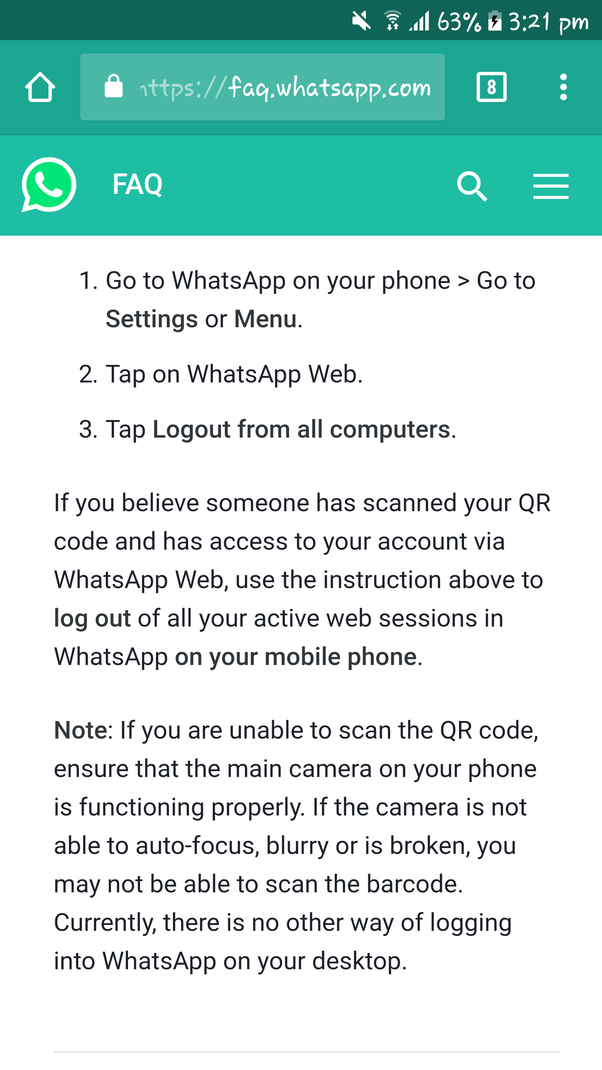 How to scan my WhatsApp web on my laptop without using QR