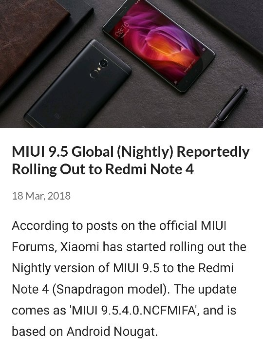 When will the Redmi Note 4 get the MIUI 9 5 update? - Quora