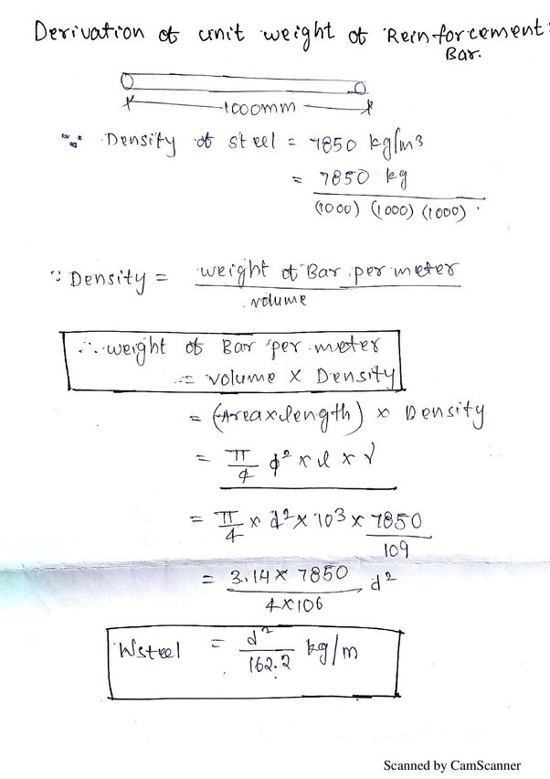 so lets have a look How can we derive u0027UNIT WEIGHT OF STEELu0027  sc 1 st  Quora & How to calculate the weight of a mild steel bar from its length - Quora