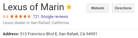 Lexus Of Serramonte, The Other Dealer Has The Most Reviews That I Can Find.  They Have Close To 1400 Reviews And Have The Highest Average In The Bay Area :