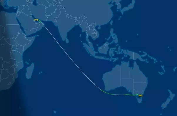 How does the flight map of Emirates Airline from Dubai to Melbourne ...