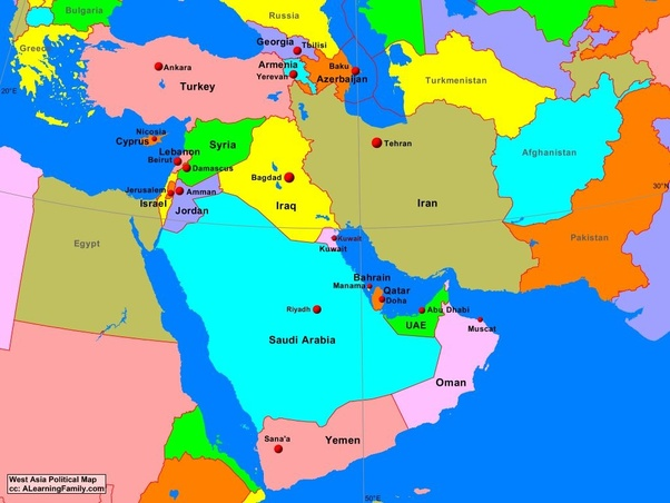 North West Asia Map.What Are The West Asian Countries Quora