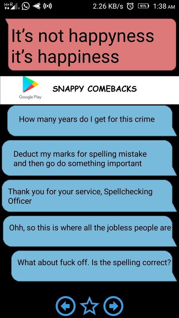 Snappy comebacks insults