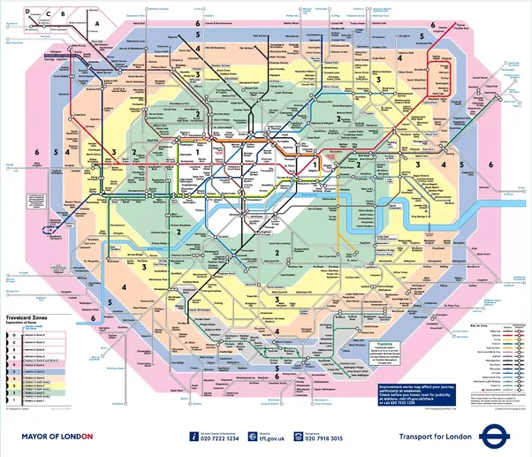 yes they are very roughly concentric circles if that means anything to you this is best illustrated with a tube map that has the zones on it