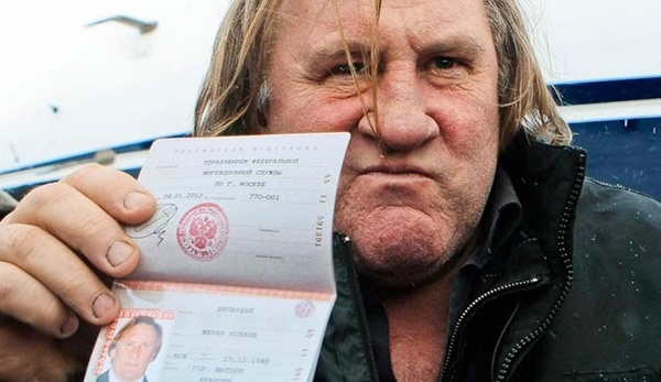 Depardieu shows his new Russian passport