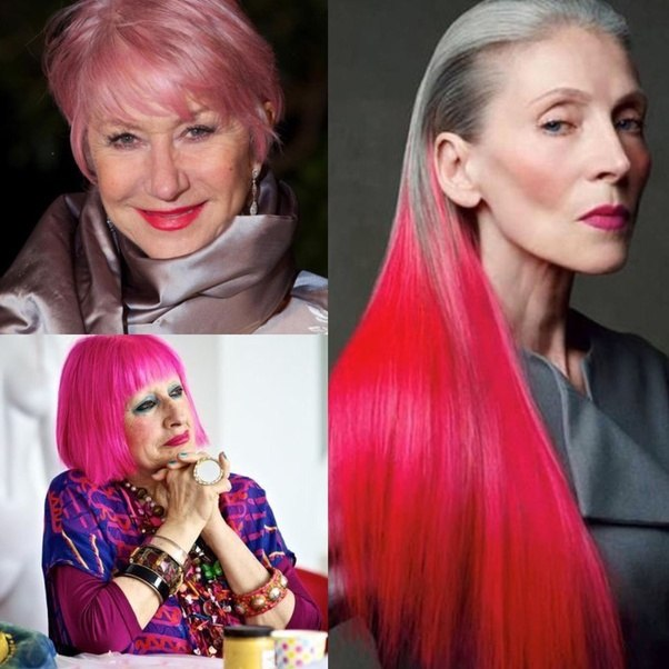 My hair is 3/4 naturally grey, can I dye it pink? - Quora