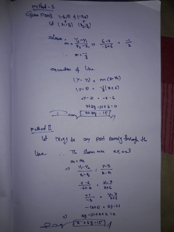What Equation Represents The Line That Passes Through (-6