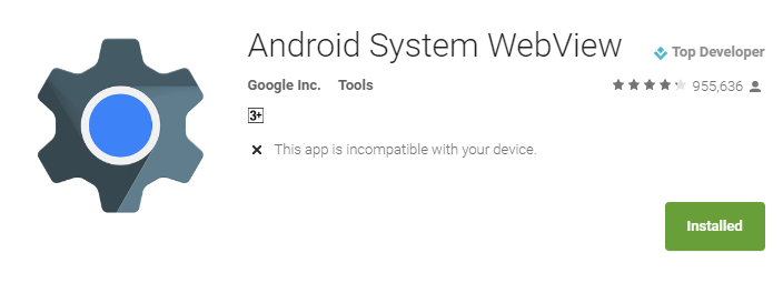 How to fix the 'unfortunately Android System Webview has