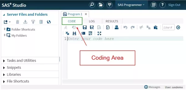 How to learn sas fast quora the coding area is located in the middle of the sas studio interface this is where you enter your programming code fandeluxe Image collections