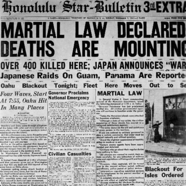 "Within hours of the declaration against Japan, martial law is declared in  Hawaii. People are told it's only ""temporary"", but it continued until  October 24th ..."