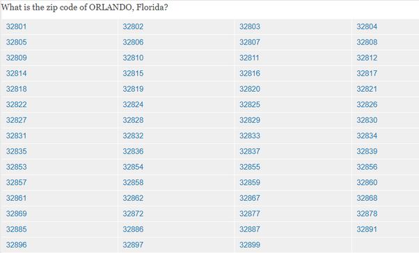 What Is My Zip Code >> What Is The Zip Code For Orlando Quora