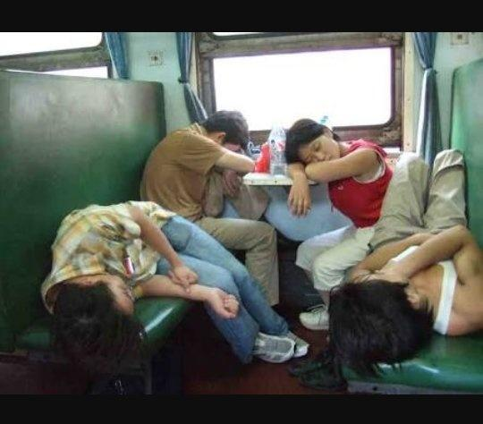 Sleeping teen on train 5