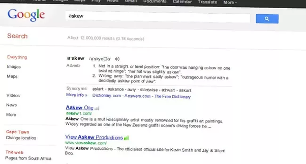 When we search 'askew' in Google, why is the page slightly tilted? - Quora