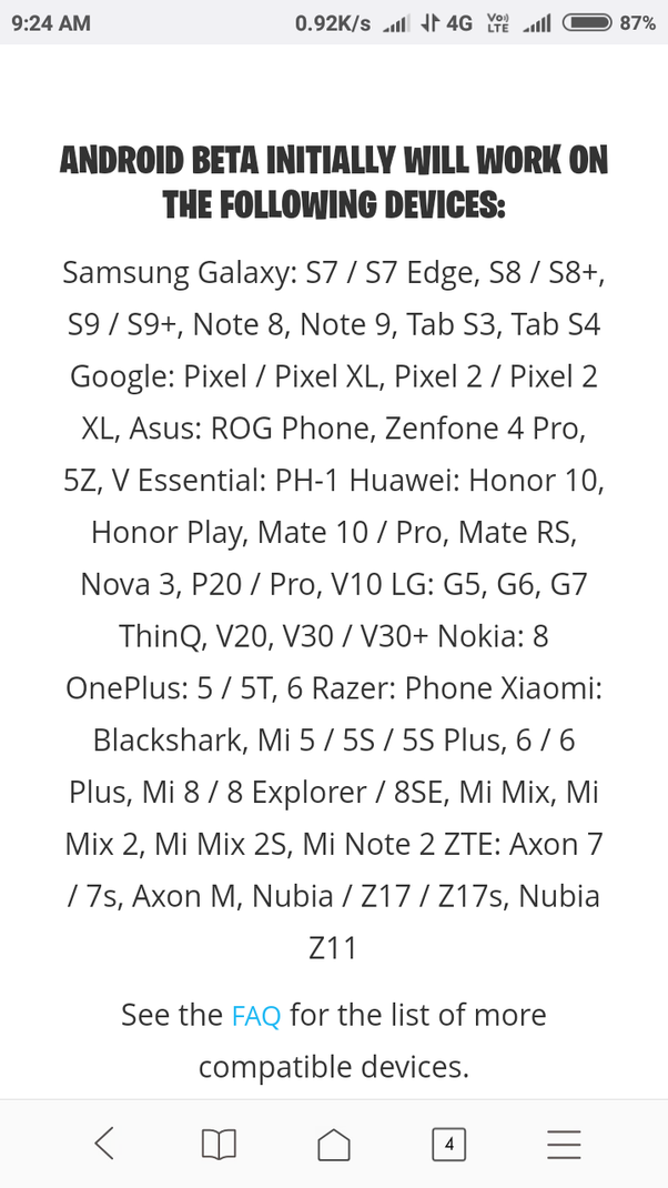 after only they will release the minimum requirements for the mobile to play this game right now they have released the list of beta supported smartphones - minimum spec for fortnite mobile