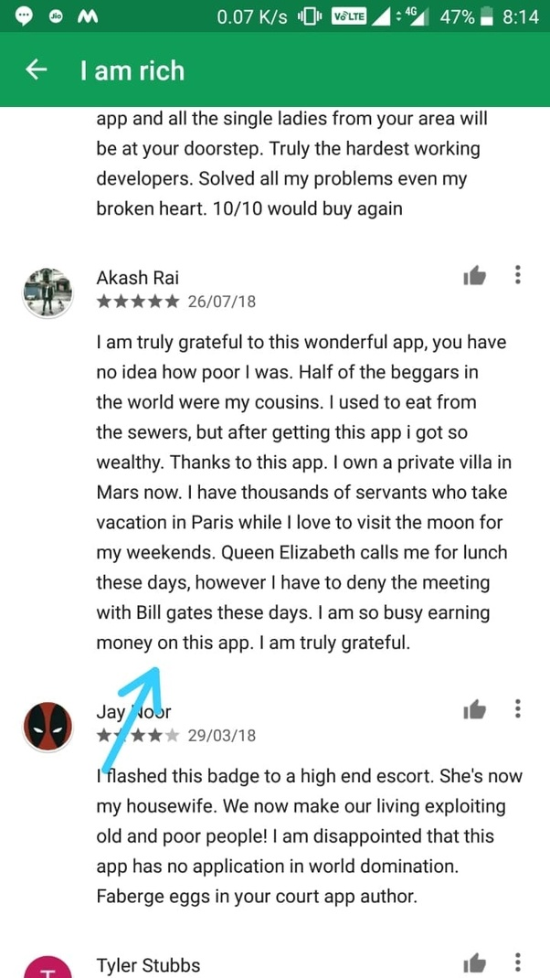 What app has the funniest reviews on the Google Play Store or Apple
