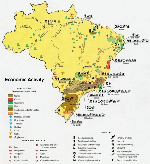 How is brazil a newly indrustralized country quora but almost nothing of this is exported with the exception of airplanes cars electric machines and footwear this map show well what we produce and where gumiabroncs Image collections