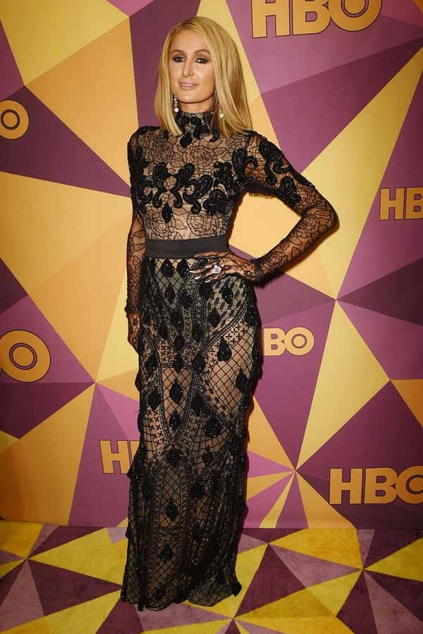00d7f148f400 Above: Paris Hilton wearing a pair of black panties under a mesh floor  length dress. Look at how well her underwear is hidden.