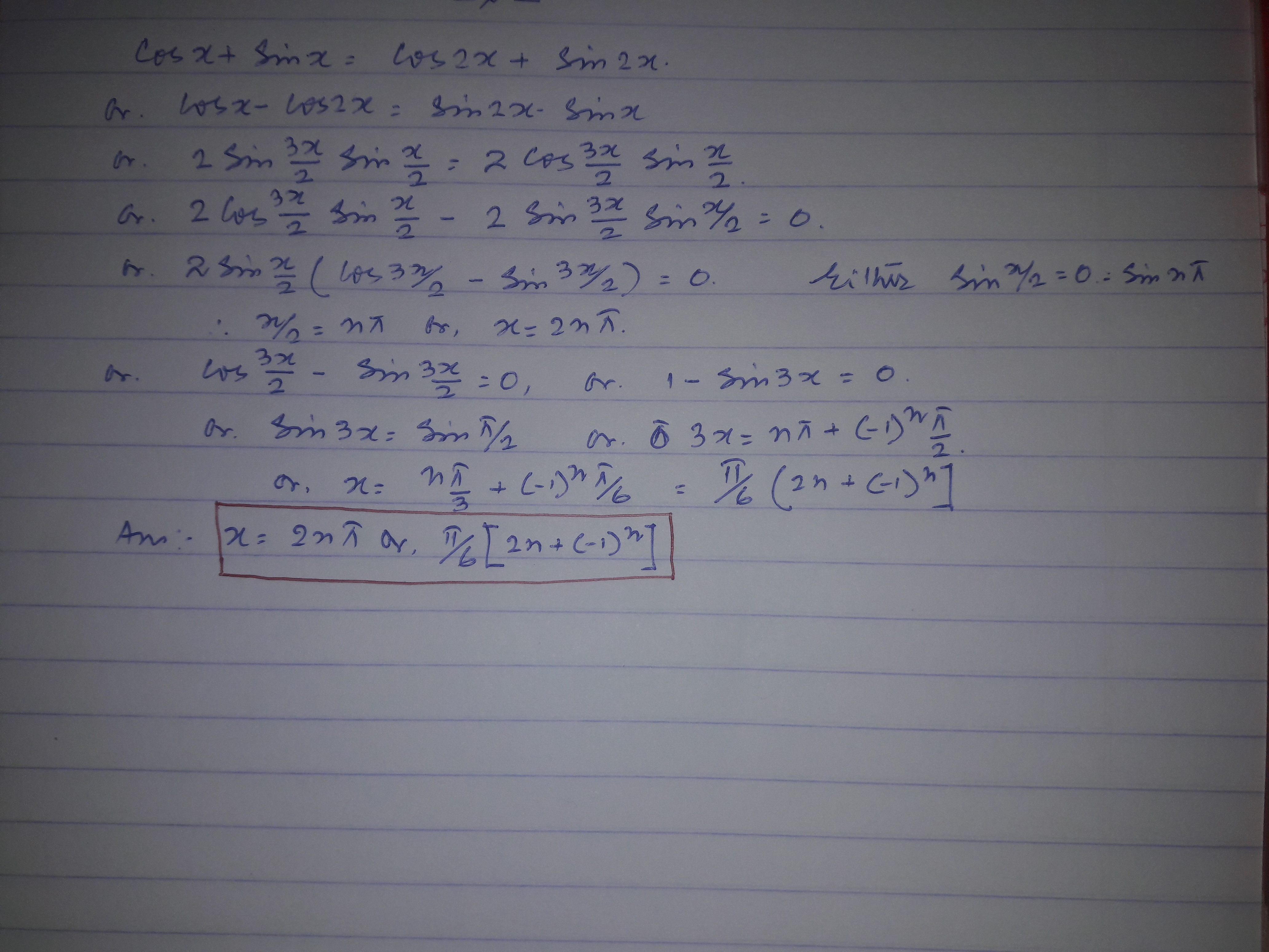 How To Solve Cosx Sinx Cos2x Sin2x Quora