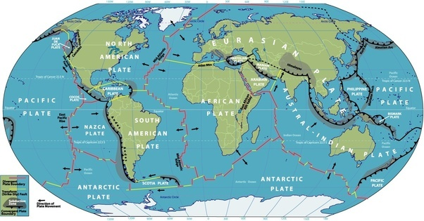 Why do the continents move quora as the mid atlantic ridge and sinking down in others such as the mariana trench in the western pacific ocean this map shows the direction of travel gumiabroncs Choice Image