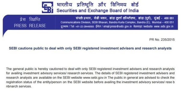 7572a512bb As per SEBI guidelines, only registered SEBI Investment Adviser are  entitled to provide any such advisory services and all other service  providers are ...