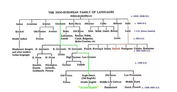 How accurately do the language family trees represent historical image taken from indo european family of languages chronological flowchart ccuart Choice Image