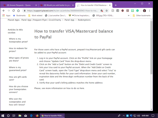 How to transfer the balance of visa gift card to bank or