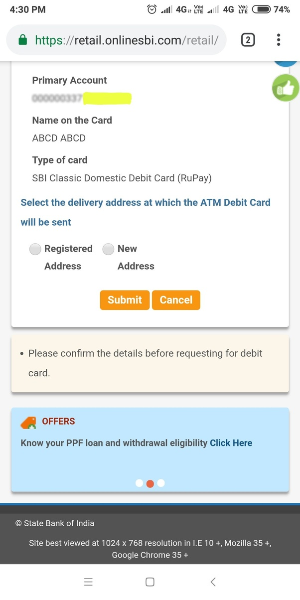 sbi atm card tracking speed post