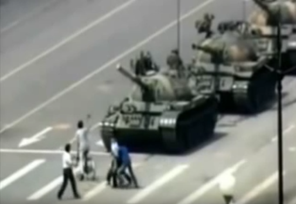 How does the Chinese government explain the footage of the Tiananmen
