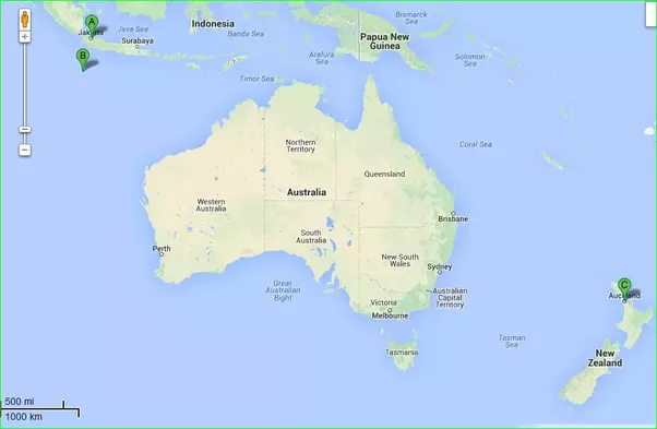 on this google map a is indonesia b is the australian territory of christmas island and c is auckland new zealand