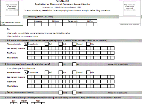 New Pan Card Application Form 49a Pdf 2014