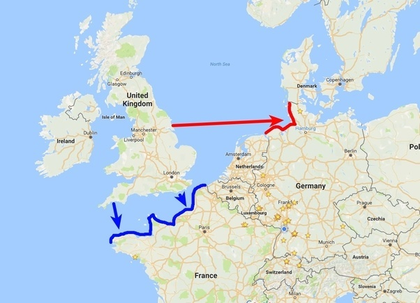 the german coast is much much farther away from the english coast than france means you can reach france quicker and have to cover less distance to