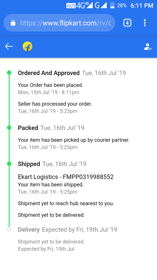 Can I go and get my Flipkart order myself from the hub closest to me if it  has reached my city? - Quora