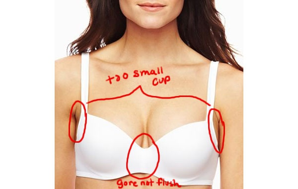 e2dccdc0e7a Above: The bra cups are too small and the gore is not flush. You can see  the markups in red by looking at the photo above.