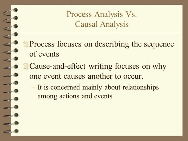 what is the difference between a process analysis essay and a cause   essay structure and outline to write these papers it will be good to  know the requirements related to process analysis essay and cause and effect  essay