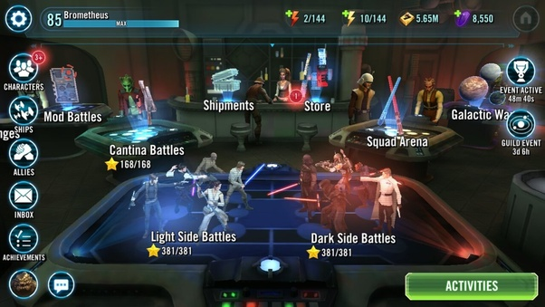 on star wars galaxy of heroes how do i change the hero who