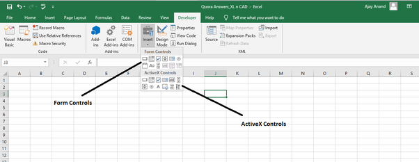 What is difference between Form Controls Vs Active X control in