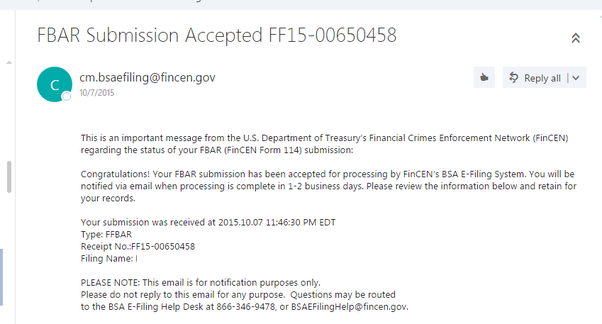 When Do You Get A Confirmation When Fbar Filing Has Been Received