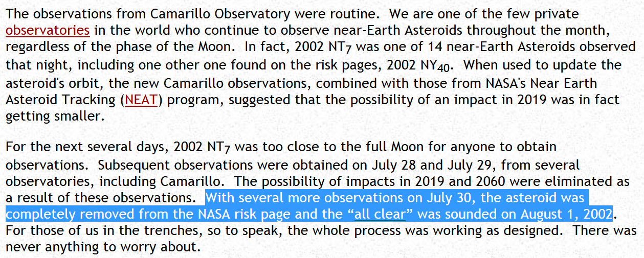 2002 NT7 Will NOT Hit Earth Feb 1, 2019 - Known Since Aug 1