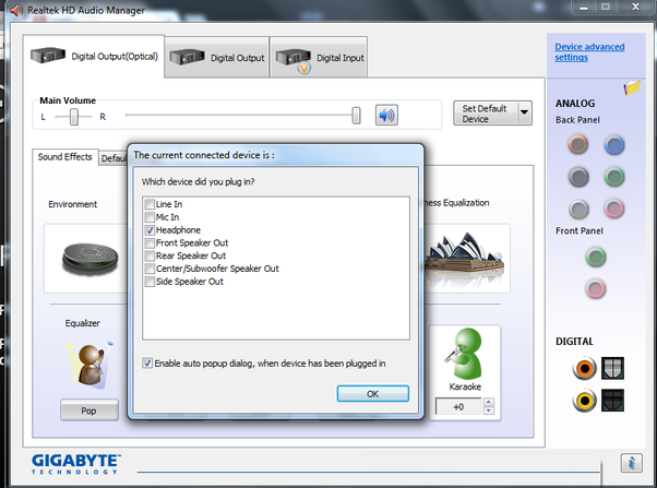 How to enable a Realtek front audio jack in Windows 10, when