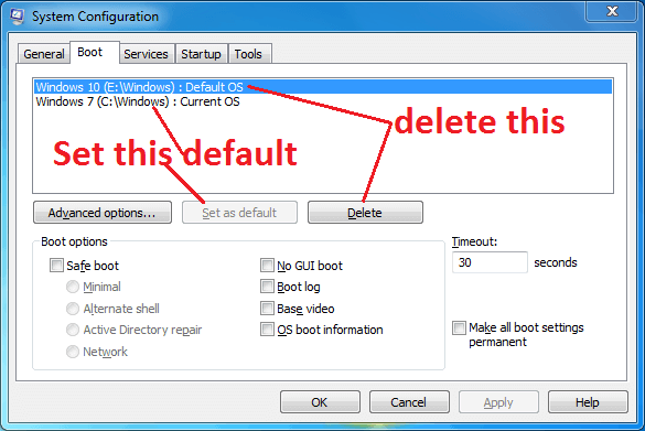 How to delete the second Windows 10 OS installed in my