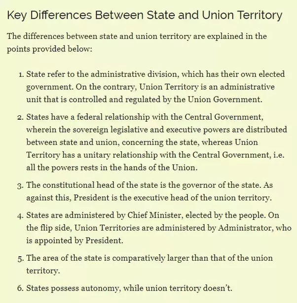what are the differences between state  u0026 union territory