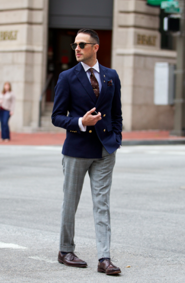 Black dress pants and grey blazer looks