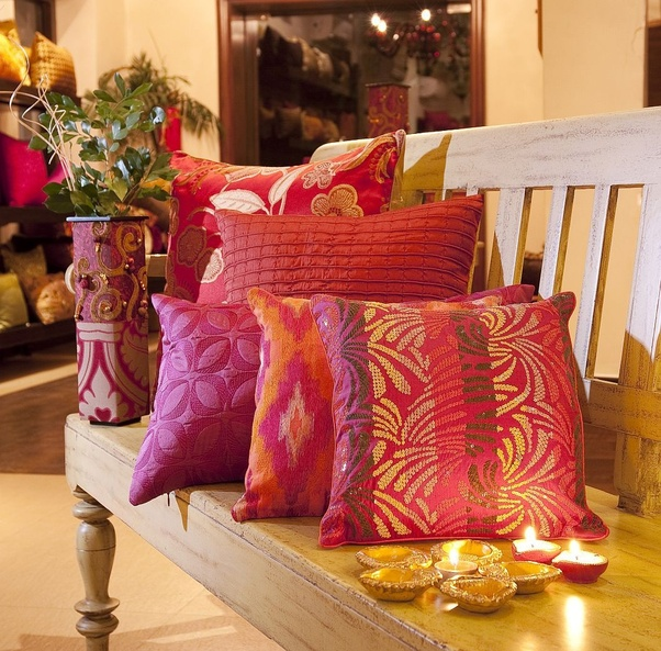 Another Easy Way Of Decorating The Home For Diwali Is To Use Some Colorful Cushions In This Idea Will Include Many Color Our And Set A Happy