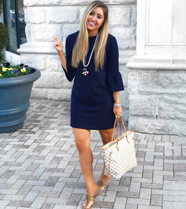 b36392b6a694 Above  Here s a deep navy blue dress (indigo blue to my eyes) worn with tan  sandals with a handbag that has the same color in both the handle and the  trim.
