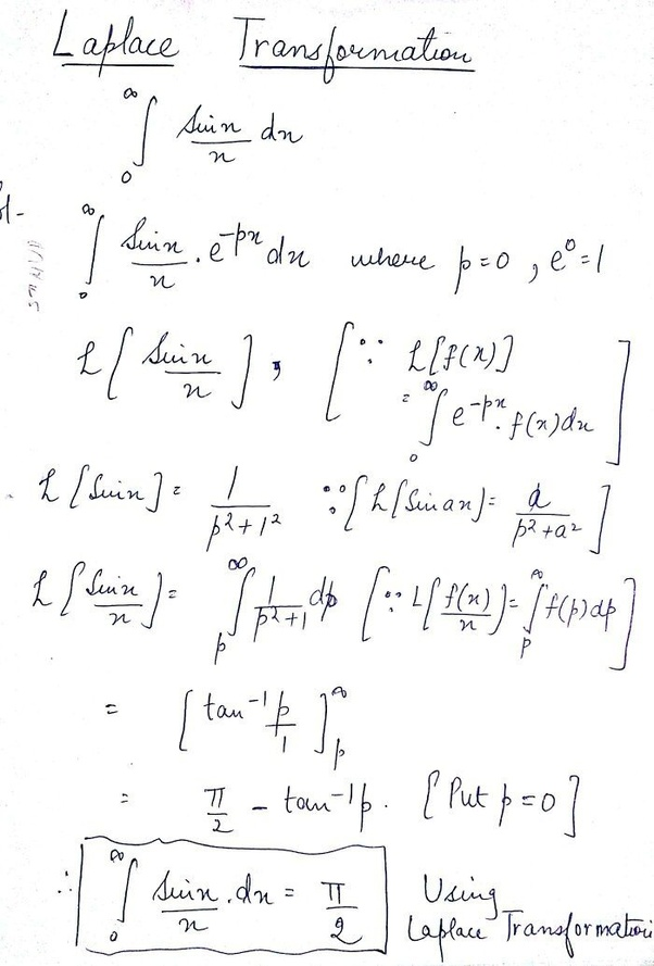 What is the integration of sinx/x with limit 0 to infinite? - Quora