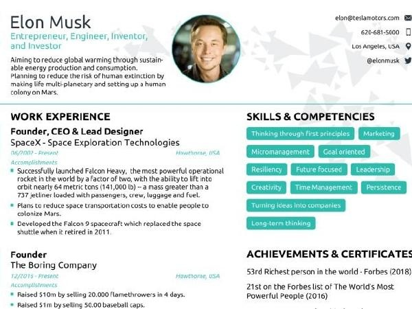 how to download elon musk resume format and edit it
